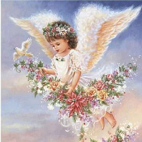 Birds Flowers Adorable Flaying Angel Diamond Painting Kit Square Diamonds
