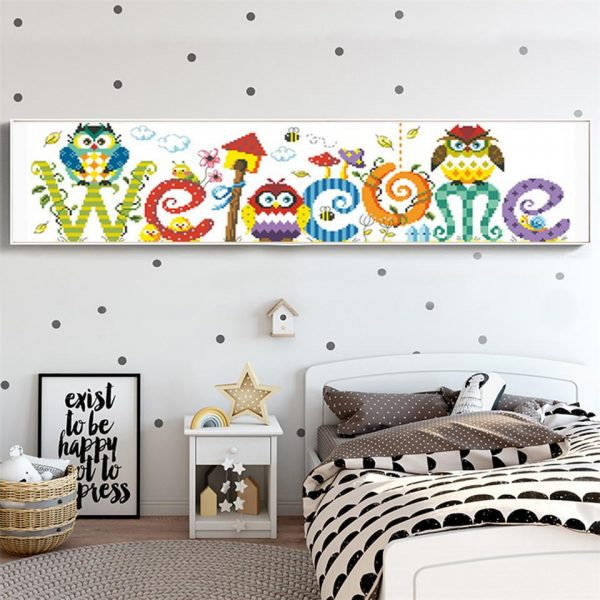 Birds Colorful Welcome Sign with Cute Owls Painting with Diamonds