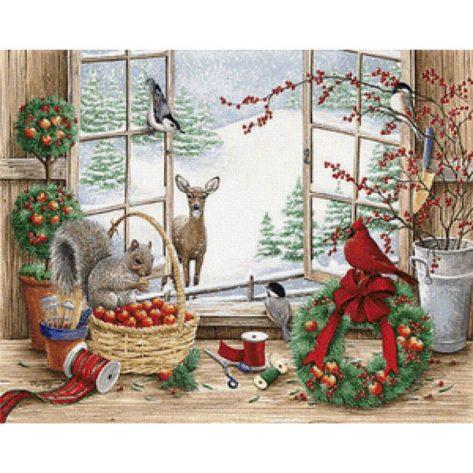 60-50-festival Christmas Elk Apples Beautiful