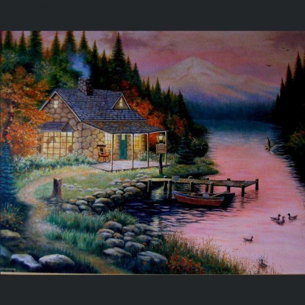 60-50-scene River House Sunset Beautiful