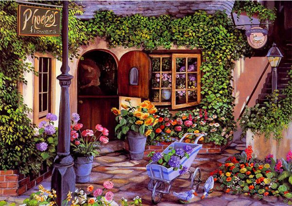 60-50-scene Flowers Cabin Vibrant And Beautiful