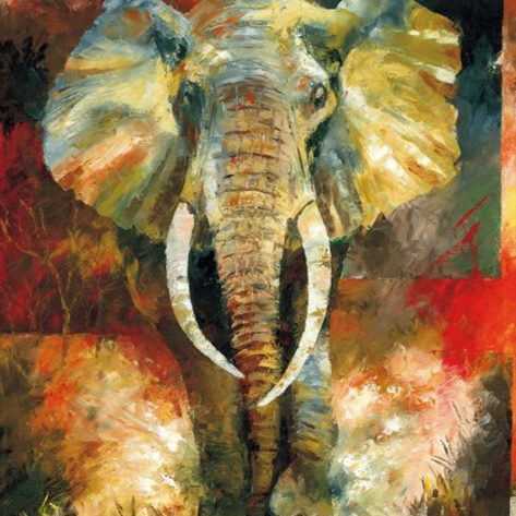 Animal Green Lovely Elephant Painting