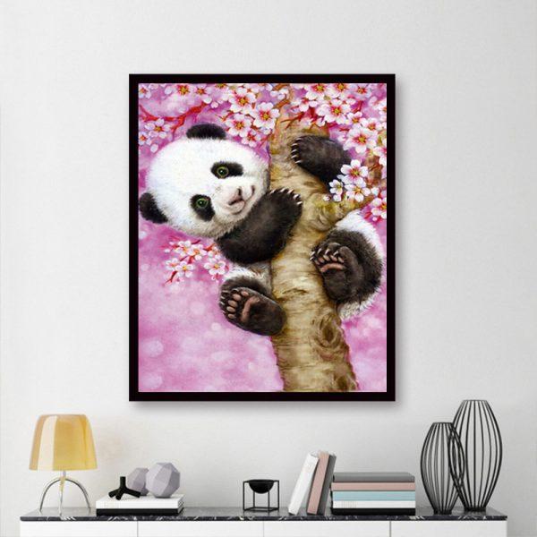 Animal Cute Panda Tree Climbing Pink And Flowers