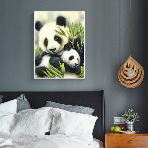 Animal Lovely Pandas And Green Bamboo