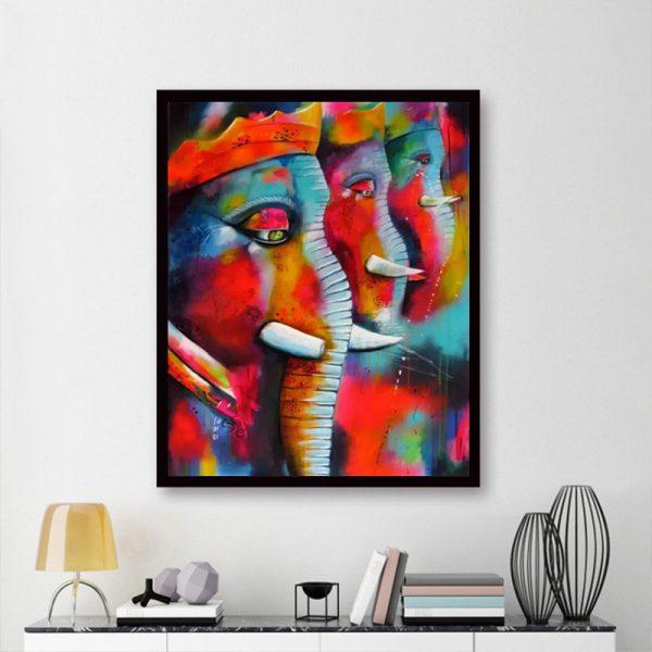 Animal Colorful Elephants Beautiful