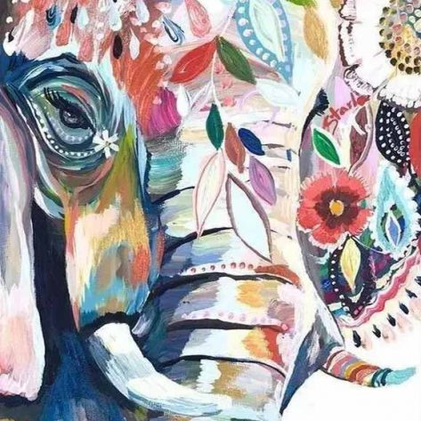 Animal Beautiful Elephant Colorful Painting