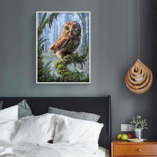 Animal Owl In The Forest Standing On The Tree