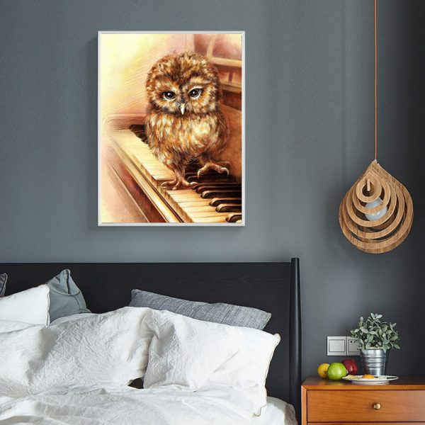 Animal Lovely Owl Standing On The Piano