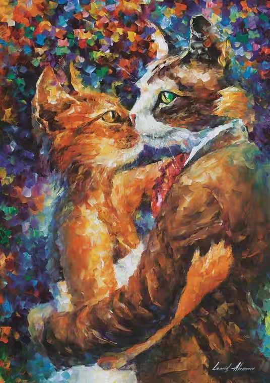Animal Lovely Tow Cats Embrace And Kiss