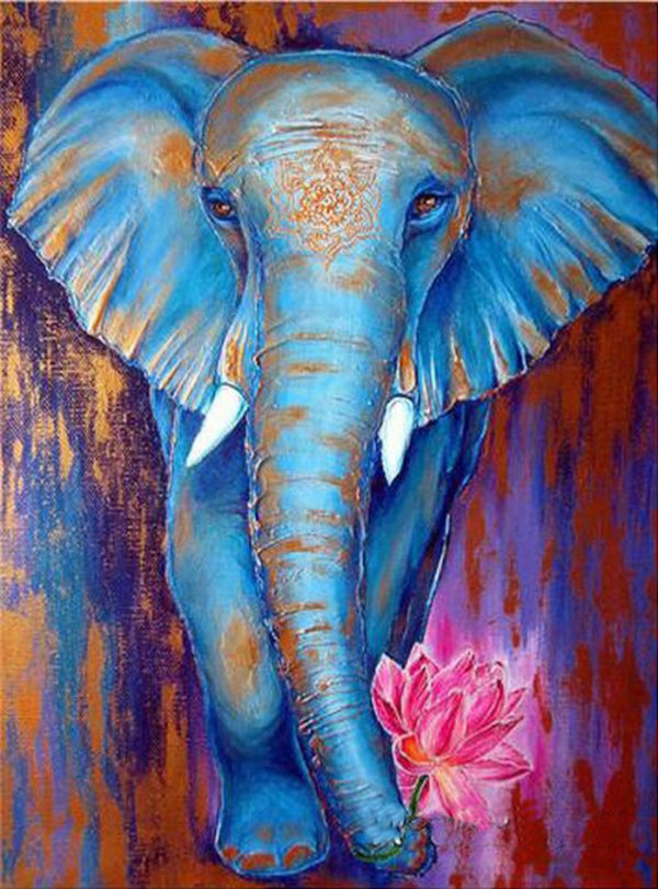 Animal Blue Pretty Elephant With Flower