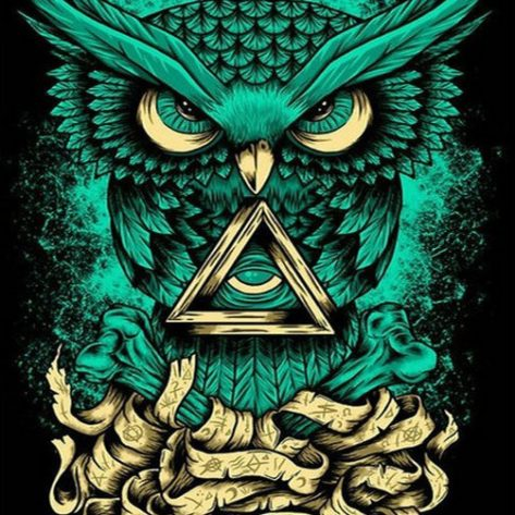 Animal Owl Green And Gold Artistic
