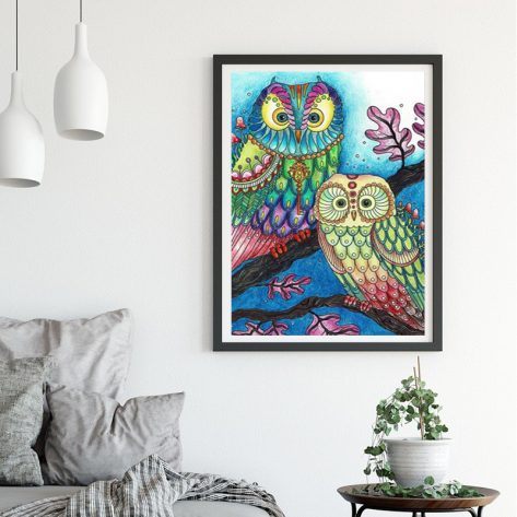 Animal Two Owls On The Branch Beautiful