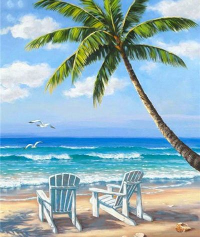 Scene Blue Sky Beach Coconut Tree