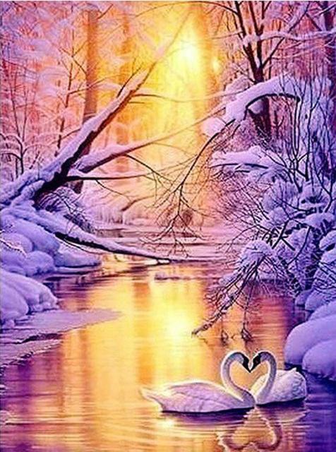 Scene Snow And Sun Bright Light Calm Lake