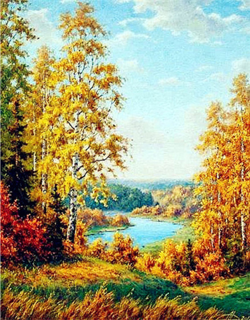 Scene Golden Leaves Blue Sky Autumn Has Come