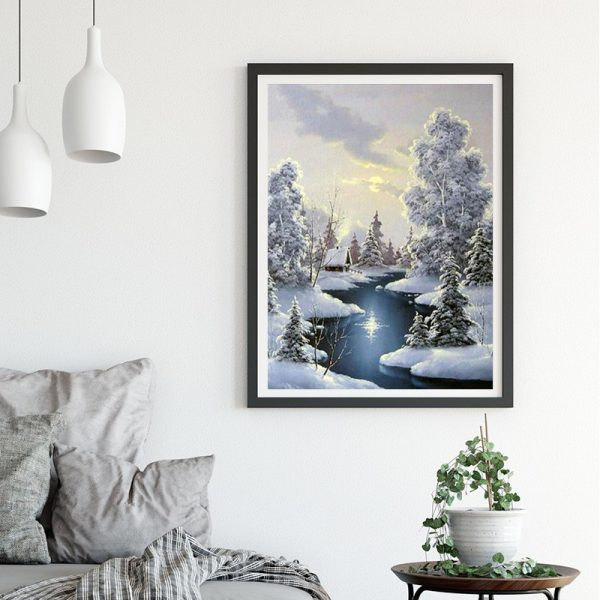 Scene Snow Tree house and lake