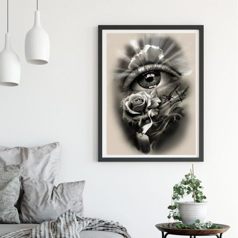 Variety Flowers And Eyes Exquisite Black Tone