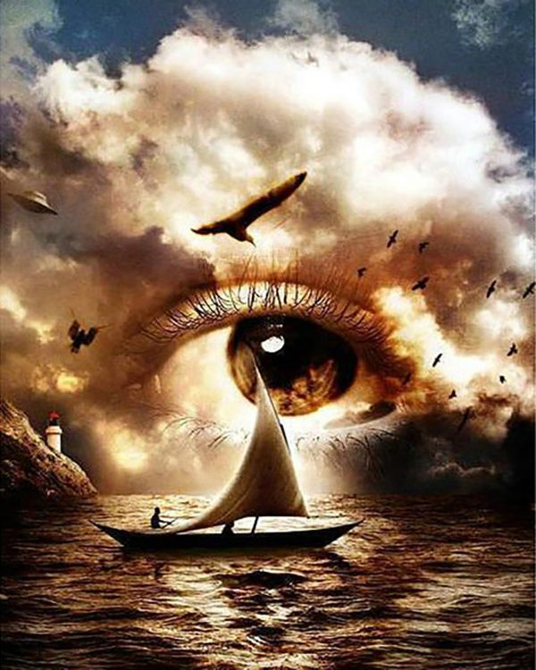 Variety Sailing Ship On The Sea Clouds Become Eyes