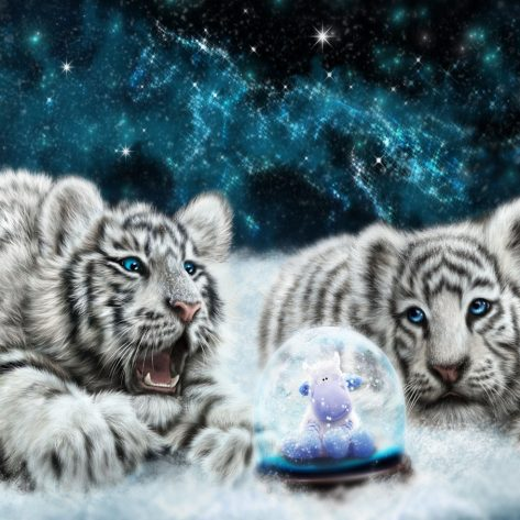 Two Warm Cubs Look At The Transparent Crystal Ball
