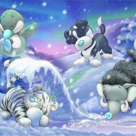 Cute Animals Play In Winter