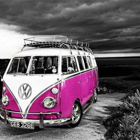 Variety Pink And White Cute Bus Dark Background