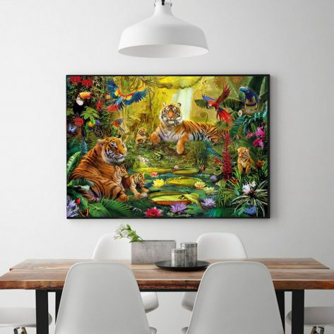 Flower And Bird Language Forest Warm Tiger Family