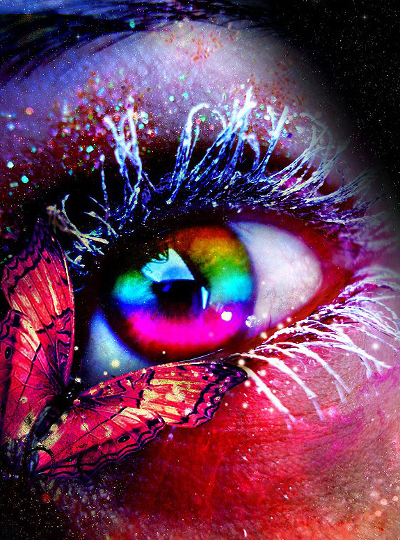 Variety Gorgeous And Shiny Eye With Butterfly