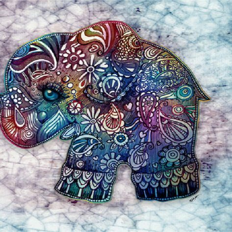 Elephants With Various Beautiful Elements