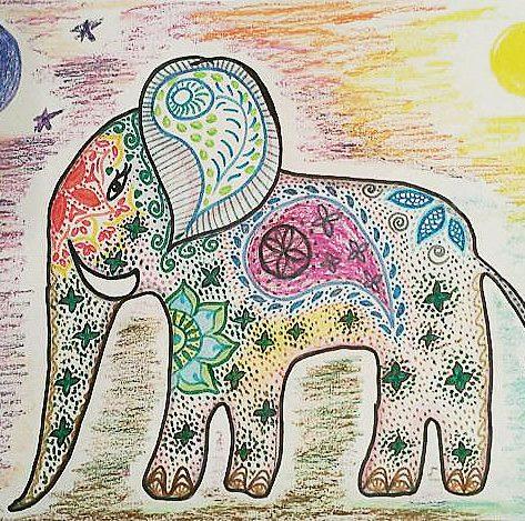 Stars Moon Sun Elephant Hand-painted Illustration