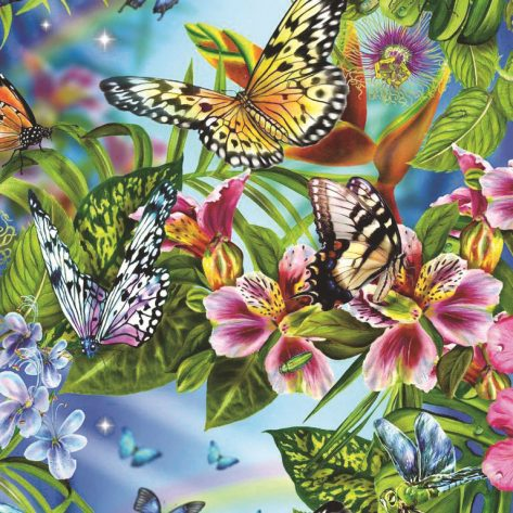 A Hundred Flowers Blossom And Beautiful Butterflies