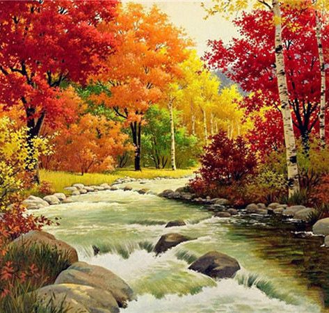 Poetic Autumn Maple Leaves Accompanied By The Beauty Of The Creek
