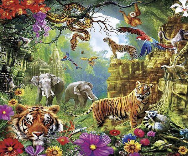 Lively Jungle Animal Gathering