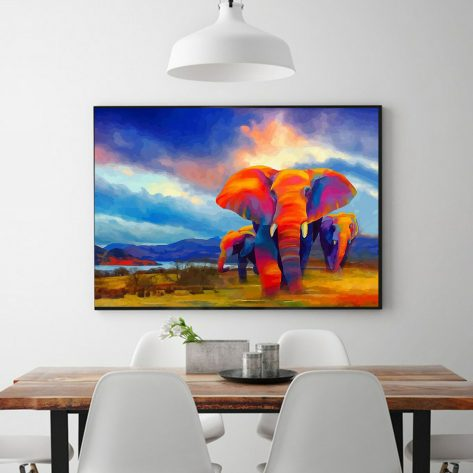Colorful Elephant Nature Scene Oil Painting