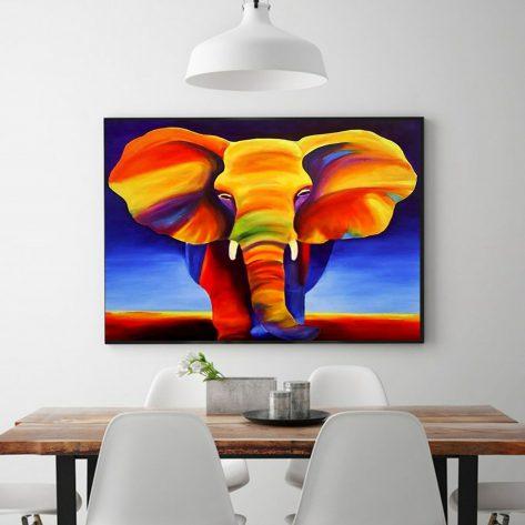 Colorful Vivid Elephant Artwork