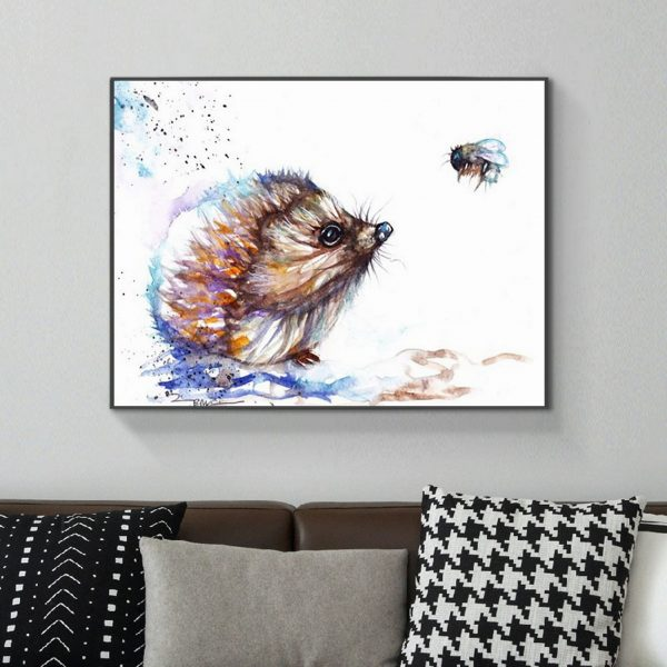 Cute Hedgehog With Small Bugs
