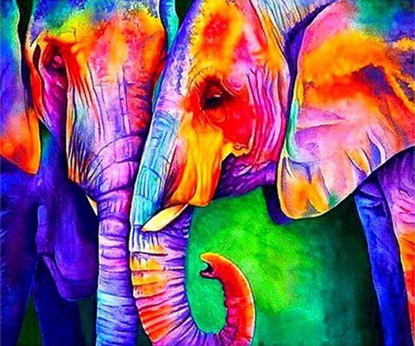 Two Elephants Snuggle Together