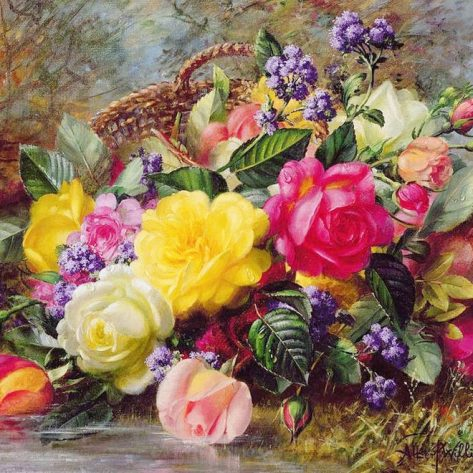 A Beautiful And Moving Basket Of Flowers