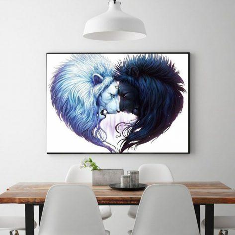 Loving Black And White Lion