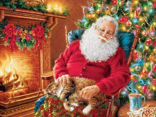 A Warm Picture Of A Sleeping Grandpa At Christmas