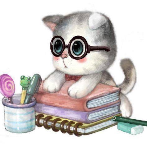 Cute Kitten Lying On The Book